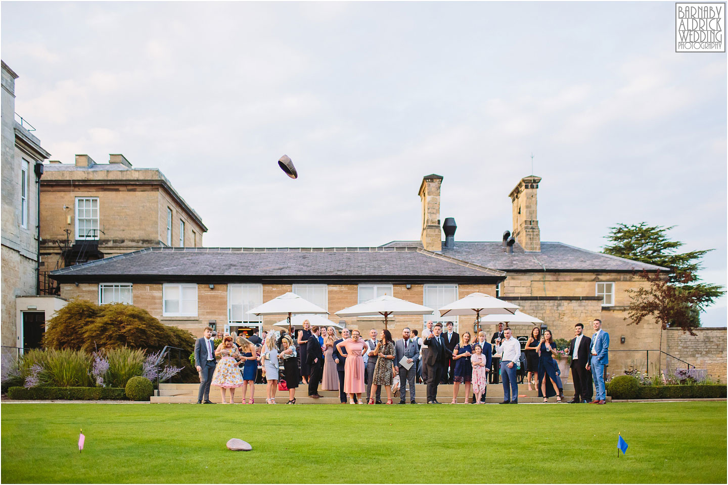 Flat Cap throwing wedding game at Bowcliffe Hall, Amazing Yorkshire Wedding Photos, Best Yorkshire Wedding Photos 2018