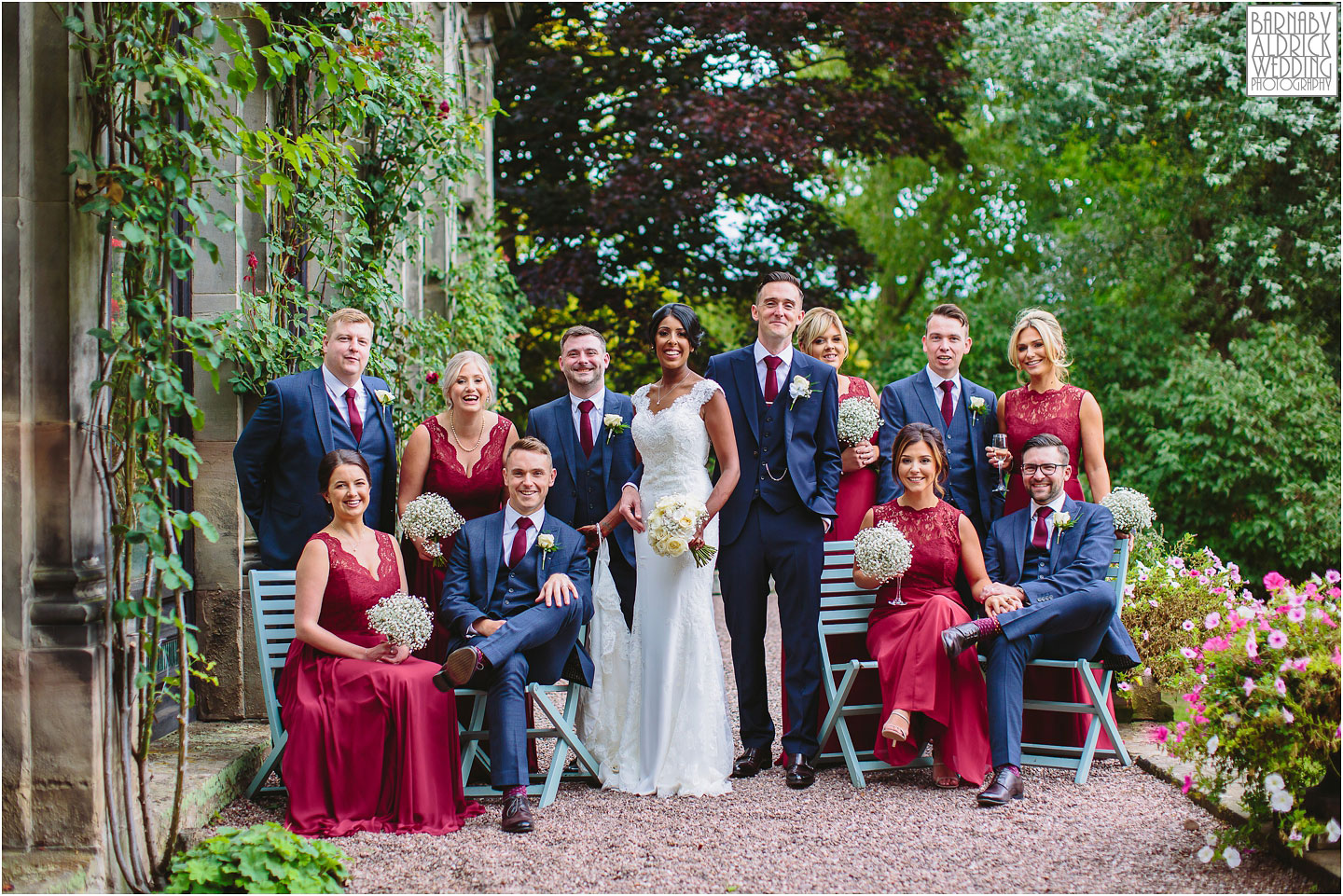 Beautiful Group wedding photo at Sandon Hall in staffordshire, Amazing Yorkshire Wedding Photos, Best Yorkshire Wedding Photos 2018