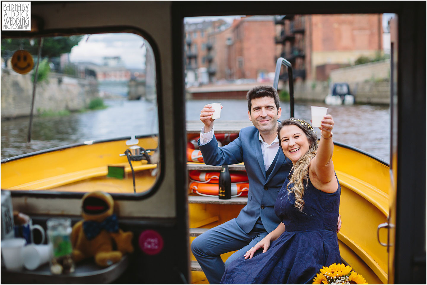 Wedding photos on the Leeds Dock yellow boat in Leeds, Amazing Yorkshire Wedding Photos, Best Yorkshire Wedding Photos 2018