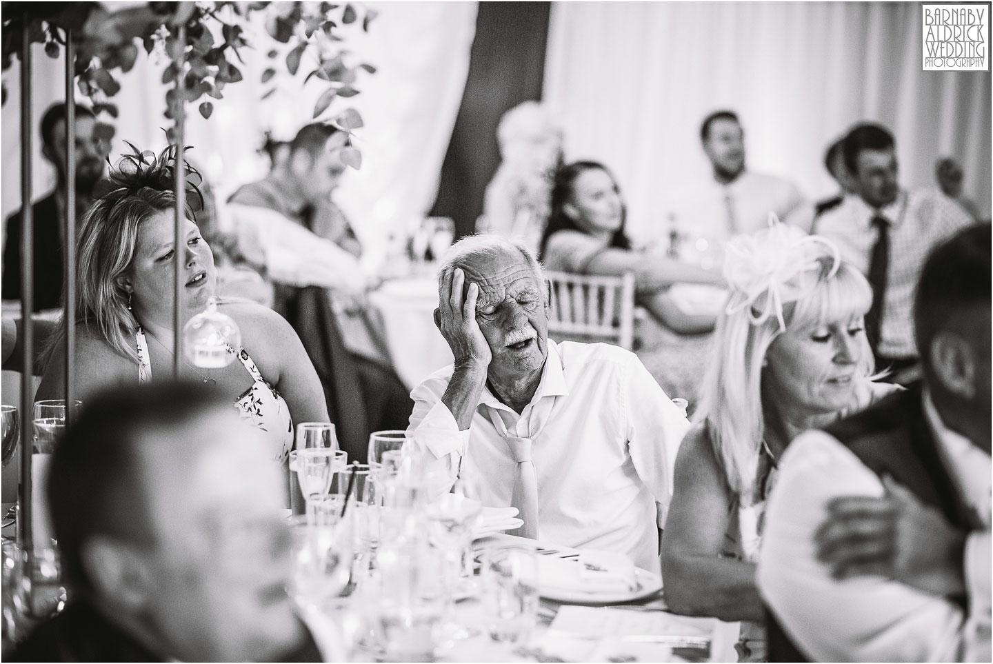 Fun photo of granddad sleeping during the speeches, Amazing Yorkshire Wedding Photos, Best Yorkshire Wedding Photos 2018