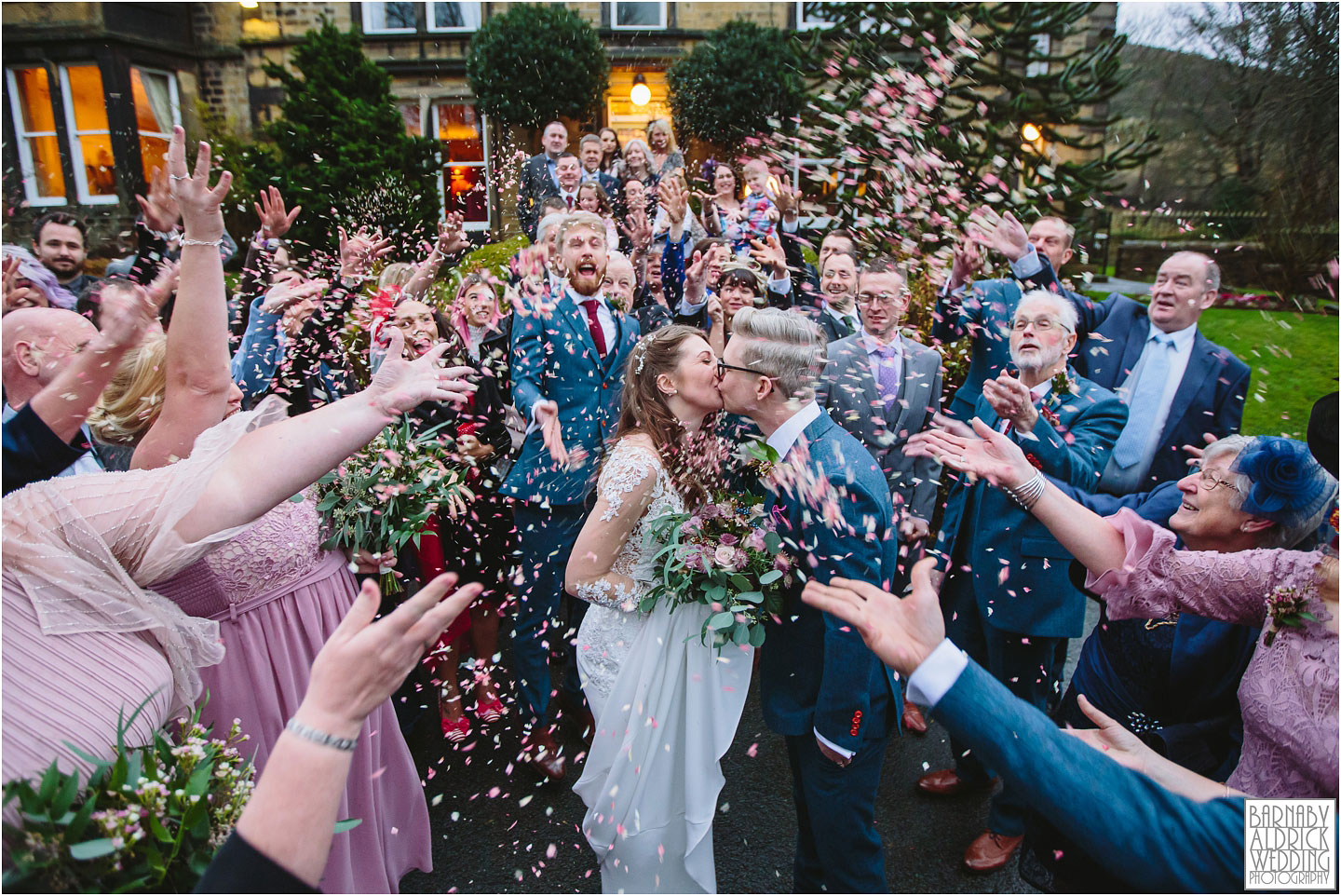 Confetti photo at Crow Hill in Marsden, West Yorkshire Winter Wedding, Exclusive Country House wedding venue, Yorkshire Wedding Photographer Barnaby Aldrick