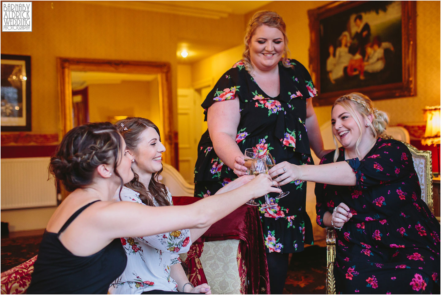 Champagne toast photo at a Crow Hill wedding in Marsden, West Yorkshire Winter Wedding, Exclusive Country House wedding venue, Yorkshire Wedding Photographer Barnaby Aldrick