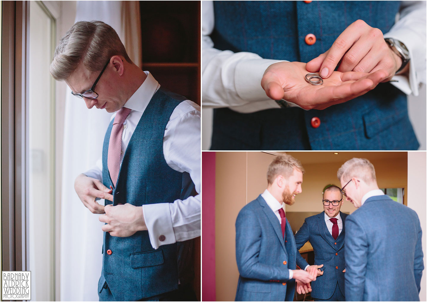Gents preparation photos at Crow Hill in Marsden, West Yorkshire Winter Wedding, Exclusive Country House wedding venue, Yorkshire Wedding Photographer Barnaby Aldrick