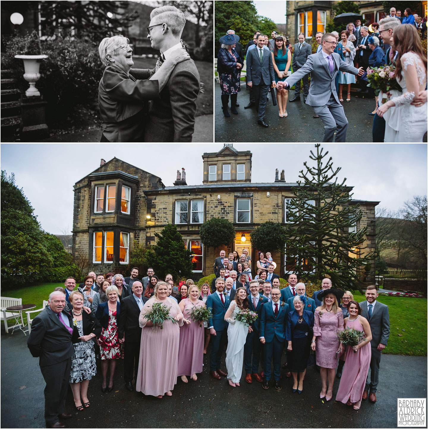 Guest reactions and group photos at Crow Hill in Marsden, West Yorkshire Winter Wedding, Exclusive Country House wedding venue, Yorkshire Wedding Photographer Barnaby Aldrick