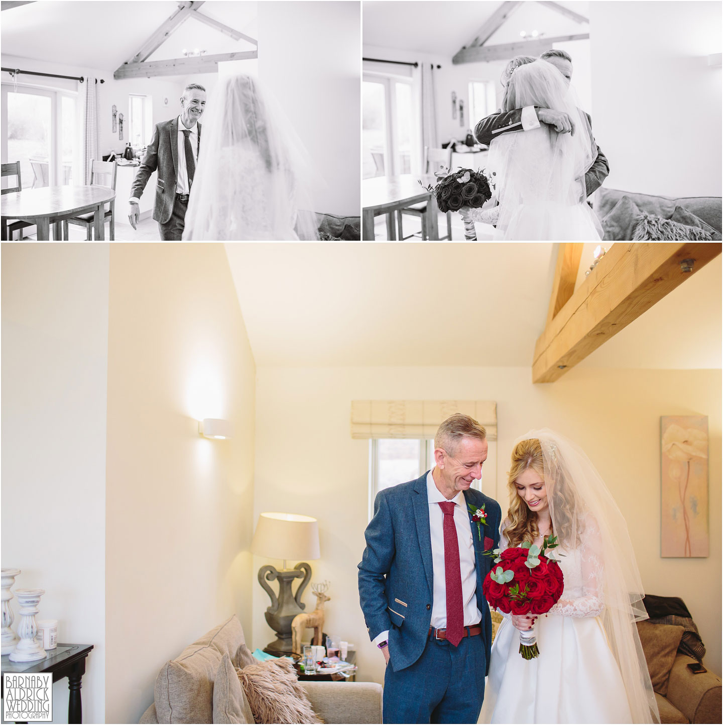 Father daughter moment, Wedding photography at Priory Cottages Barn Wedding Venue Photos, Yorkshire Barn Venue Photos