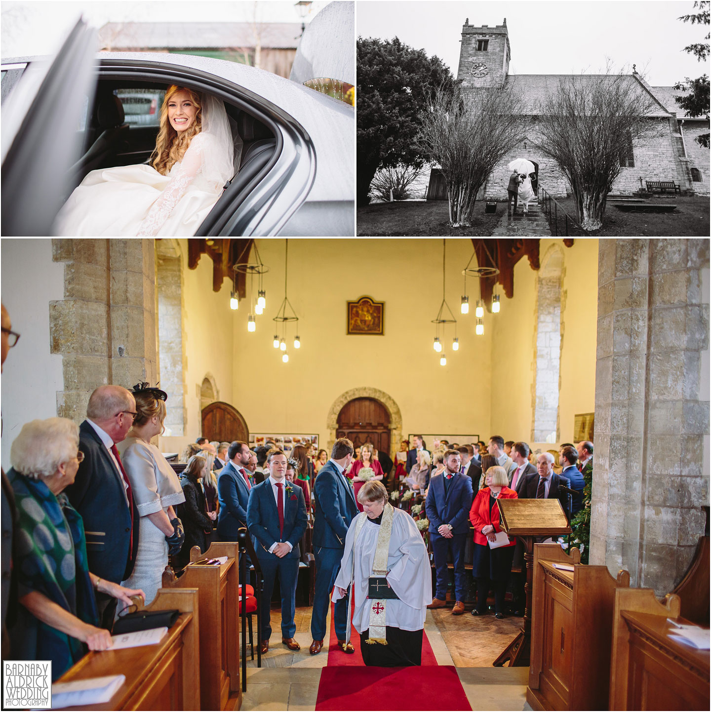 The bride's arrival at St Peter's Church in Walton near Wetherby, Priory Cottages Barn Wedding Venue Photos, Yorkshire Barn Venue Photos