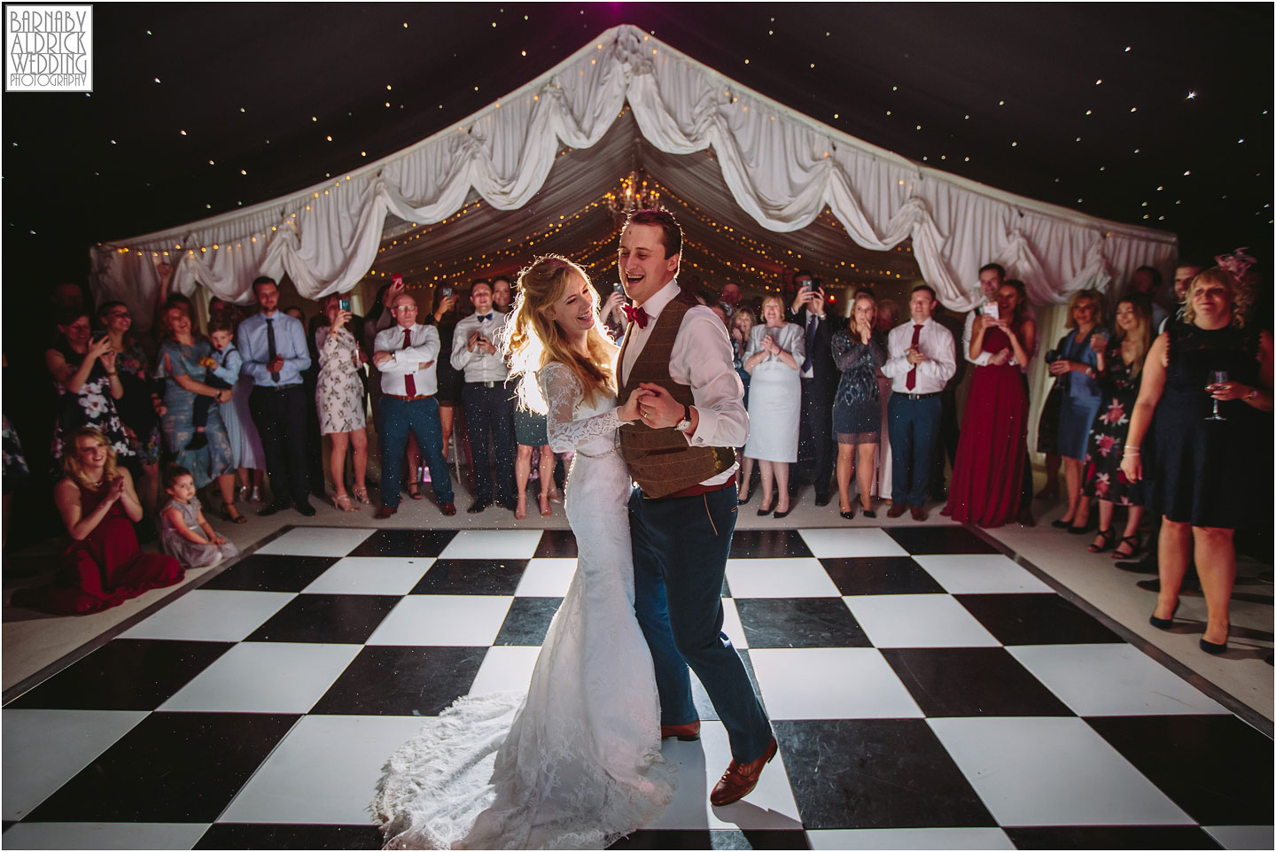 First Dance Photos at Priory Cottages Wetherby, Priory Cottages Barn Wedding Venue Photos, Yorkshire Barn Marquee Photos