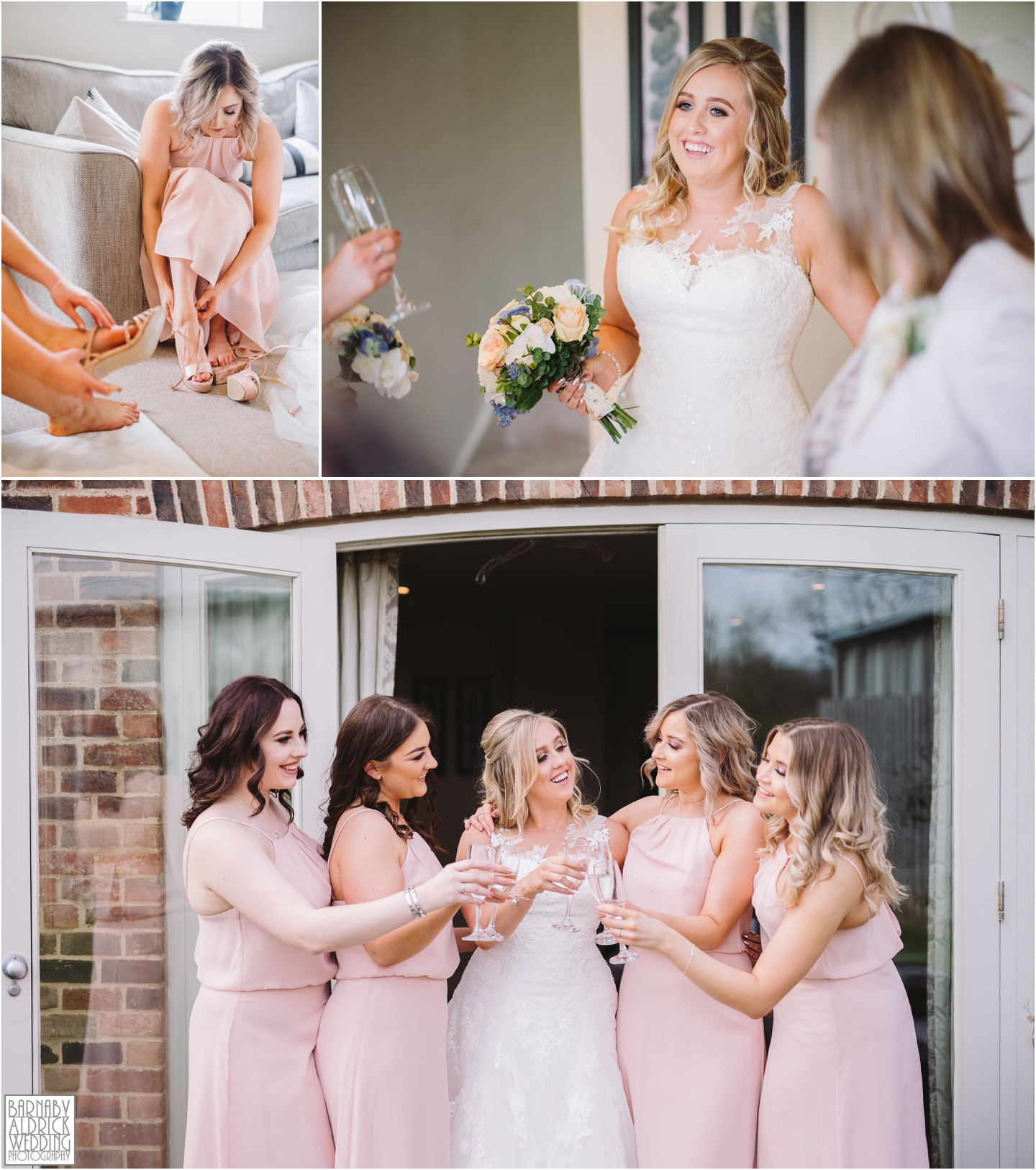 Bride and bridesmaids at Priory Cottages in Wetherby, Priory Cottages Wedding, Spring Wedding