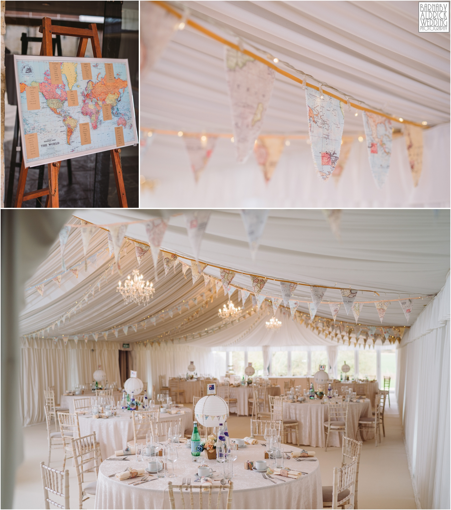 Priory Cottages Wedding Marquee, Meal space at Priory Cottages Yorkshire, Bright white travel themed wedding marquee, Wedding breakfast ideas