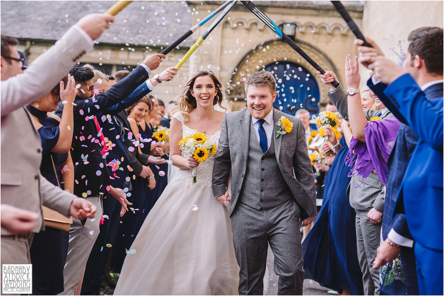 Confetti photograph at Scarthingwell Catholic Church before a Priory Cottages Wedding, Wedding photography at Scarthingwell Catholic Church near Wetherby, Priory Cottages Barn Wedding Venue Photos, Yorkshire Barn Venue Photos