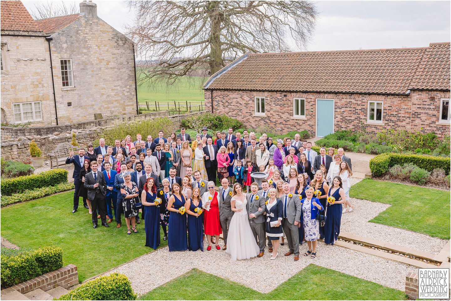 A photo of everyone at Priory Cottages in Yorkshire, Wedding photos at Priory Cottages, Wedding at The Priory Yorkshire