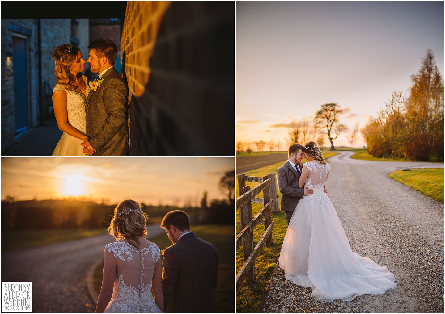 Sunset photos at Priory Cottages, Golden hour at The Priory Yorkshire, Evening wedding photo ideas at Priory Cottages Yorkshire