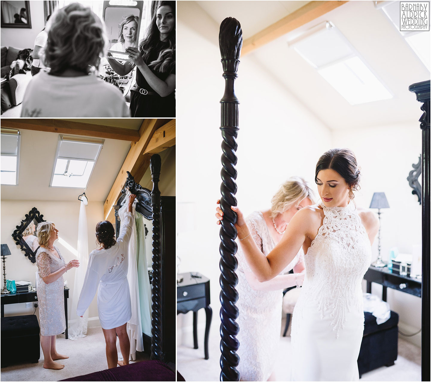 Bride getting into wedding dress, Priory Cottages Wetherby, Wedding venue Yorkshire