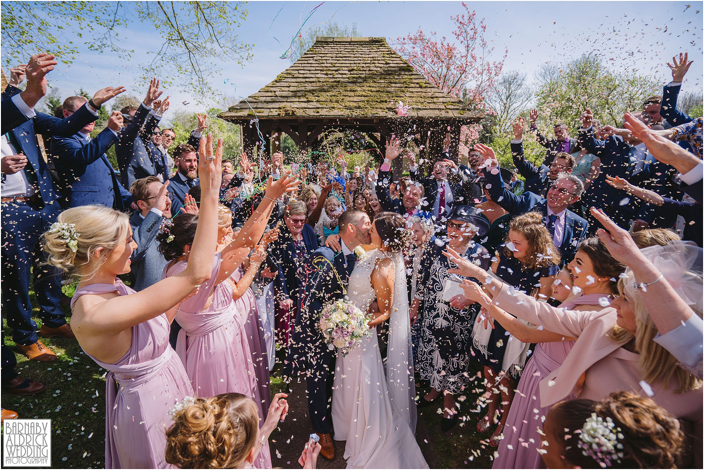 Church Confetti Photograph at All Saints Church in Bolton Percy in Yorkshire