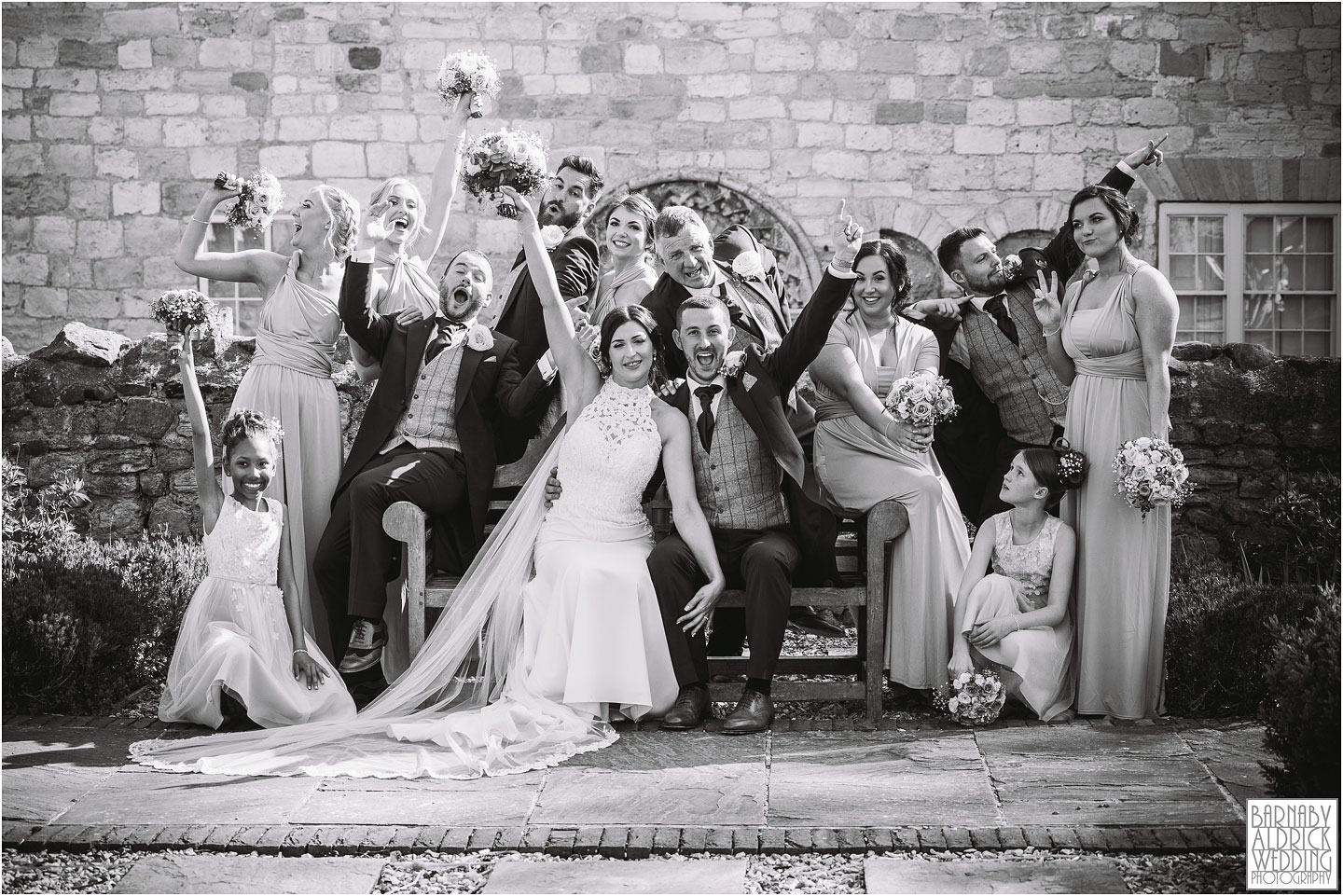 Wedding Party Group photo at Priory Cottages, Priory Cottages Wedding, Syningthwaite Priory photos