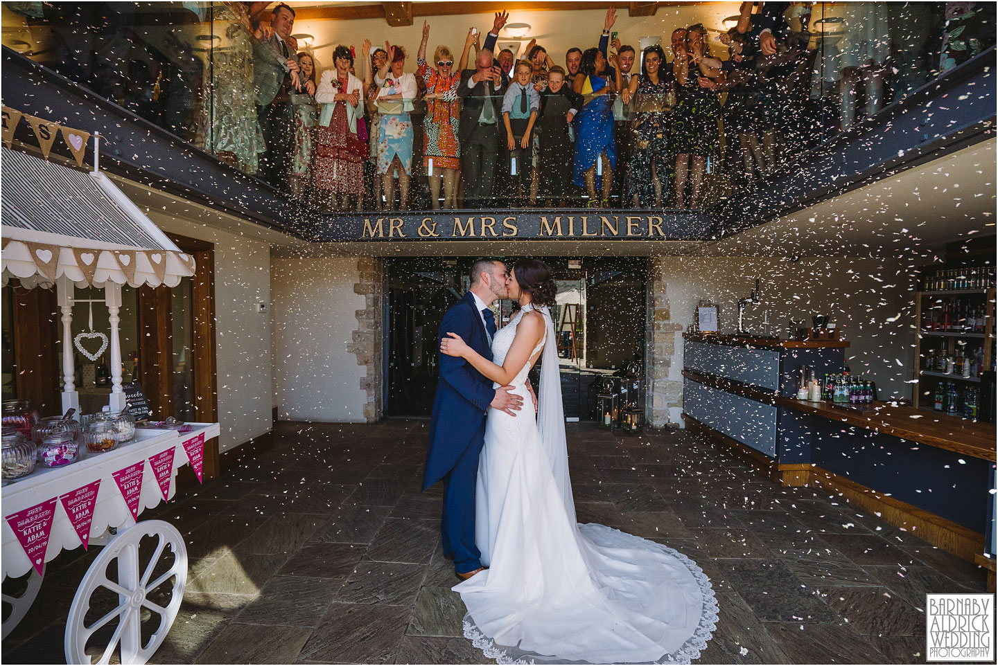 Confetti photograph at Priory Cottages Wedding Barn in Syningthwaite Priory, Wedding photography at St Peter's Church Walton near Wetherby, Priory Cottages Barn Wedding Venue Photos, Yorkshire Barn Venue Photos