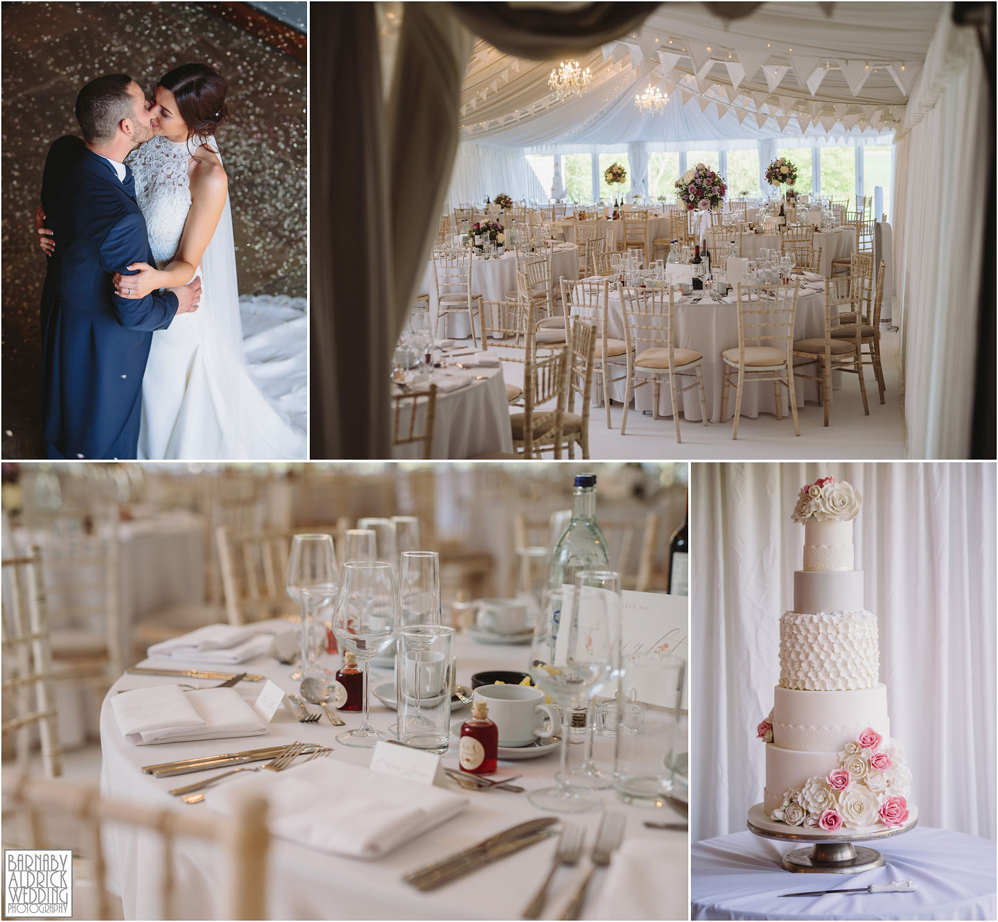 Priory Cottages Wedding Marquee, Meal space at Priory Cottages Yorkshire, Bright white themed wedding marquee, Wedding breakfast ideas
