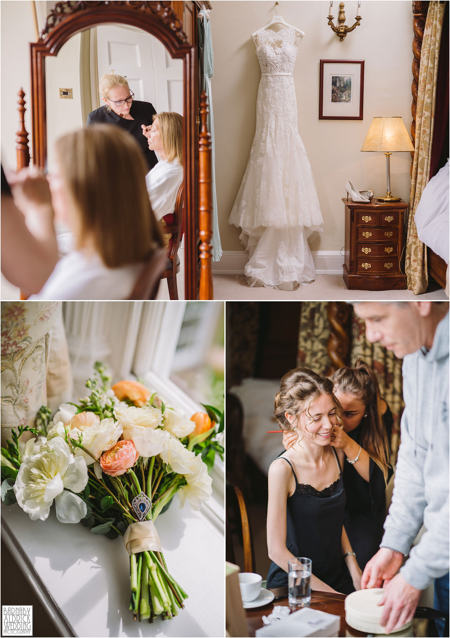 Bridal preparations at Goldsborough Hall stately home wedding venue near Harrogate and Knaresborough in North Yorkshire
