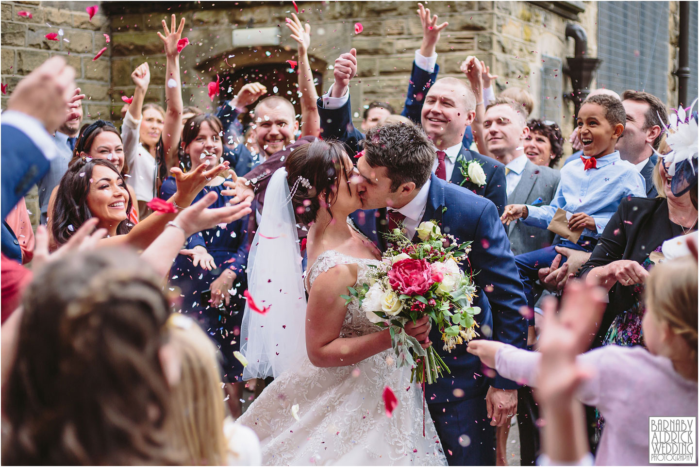 Confetti photo at a Priests House Barden Tower wedding, Priests House Yorkshire photos, Priests House Barden Tower Wedding Photography, Priests House Skipton Wedding Photographer, Yorkshire Dales Wedding, Yorkshire Wedding Photographer, Yorkshire Dales Wedding Venue