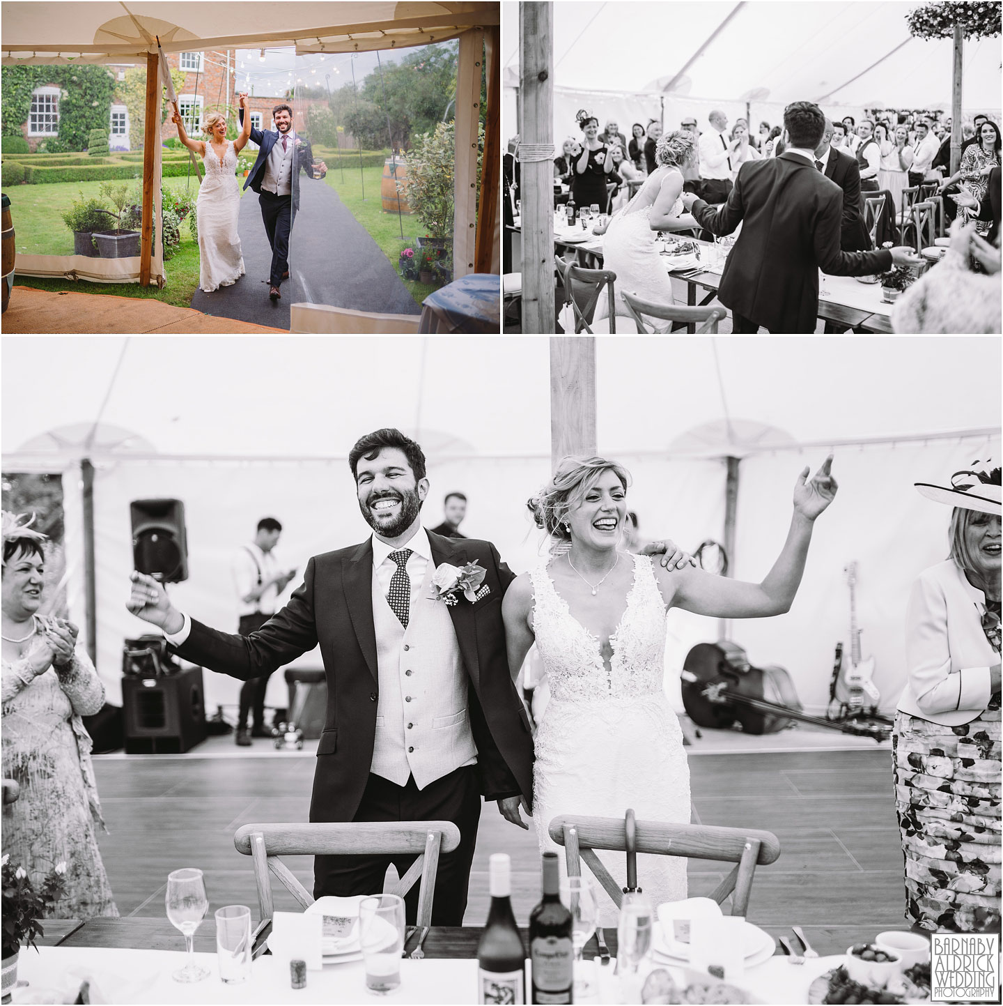 Bride and groom fun entrance photographs of a Papakata Sperry Tent Garden Wedding, Garden Marquee Wedding, Papakata Sperry Tent Wedding, Sperry Tent Marquee Wedding, Yorkshire garden Marquee Wedding company