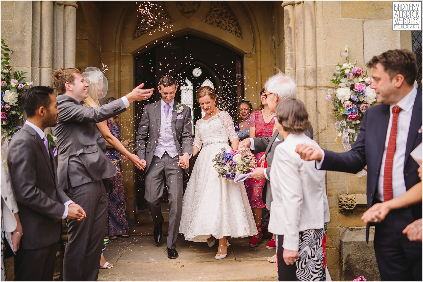Confetti at Saint Saviours Church Harome, Pheasant Harome Wedding Photography, The Pheasant Hotel Wedding, Wedding Photography at The Pheasant Hotel North Yorkshire, North Yorkshire Wedding Photographer
