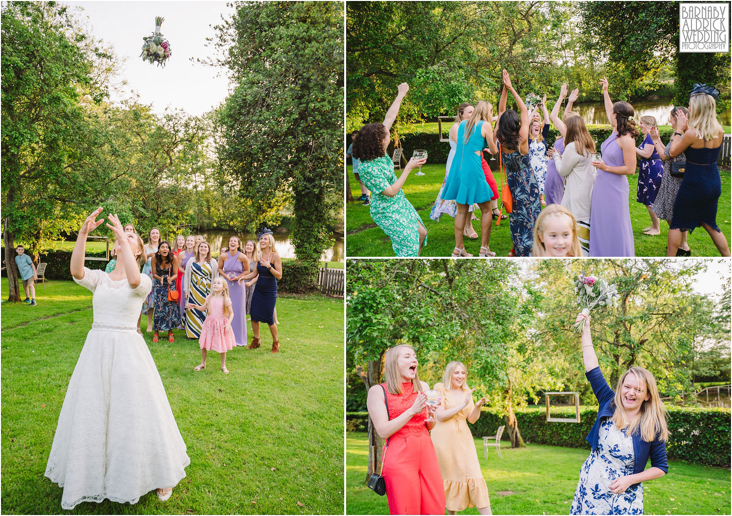 Wedding bouquet toss photo at The Pheasant Hotel Harome, The Pheasant Hotel Wedding Helmsley, Wedding Photography at The Pheasant Hotel North Yorkshire, North Yorkshire Wedding Photographer