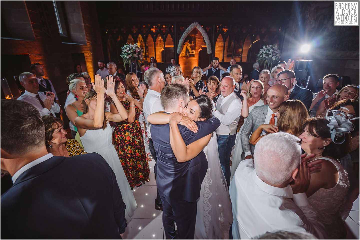 Dancing to The Rush wedding band at Peckforton Castle in Cheshire, Cheshire Wedding Photography at Peckforton Castle, Peckforton Castle Wedding, UK Castle Wedding