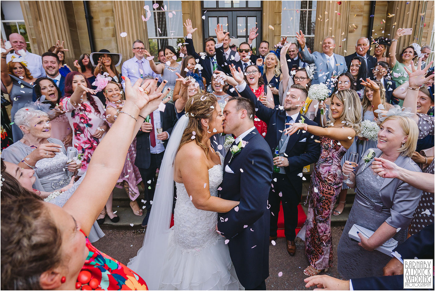 Oulton Hall Confetti, Summer wedding photo at Oulton Hall, Leeds wedding venues, West Yorkshire wedding hotels
