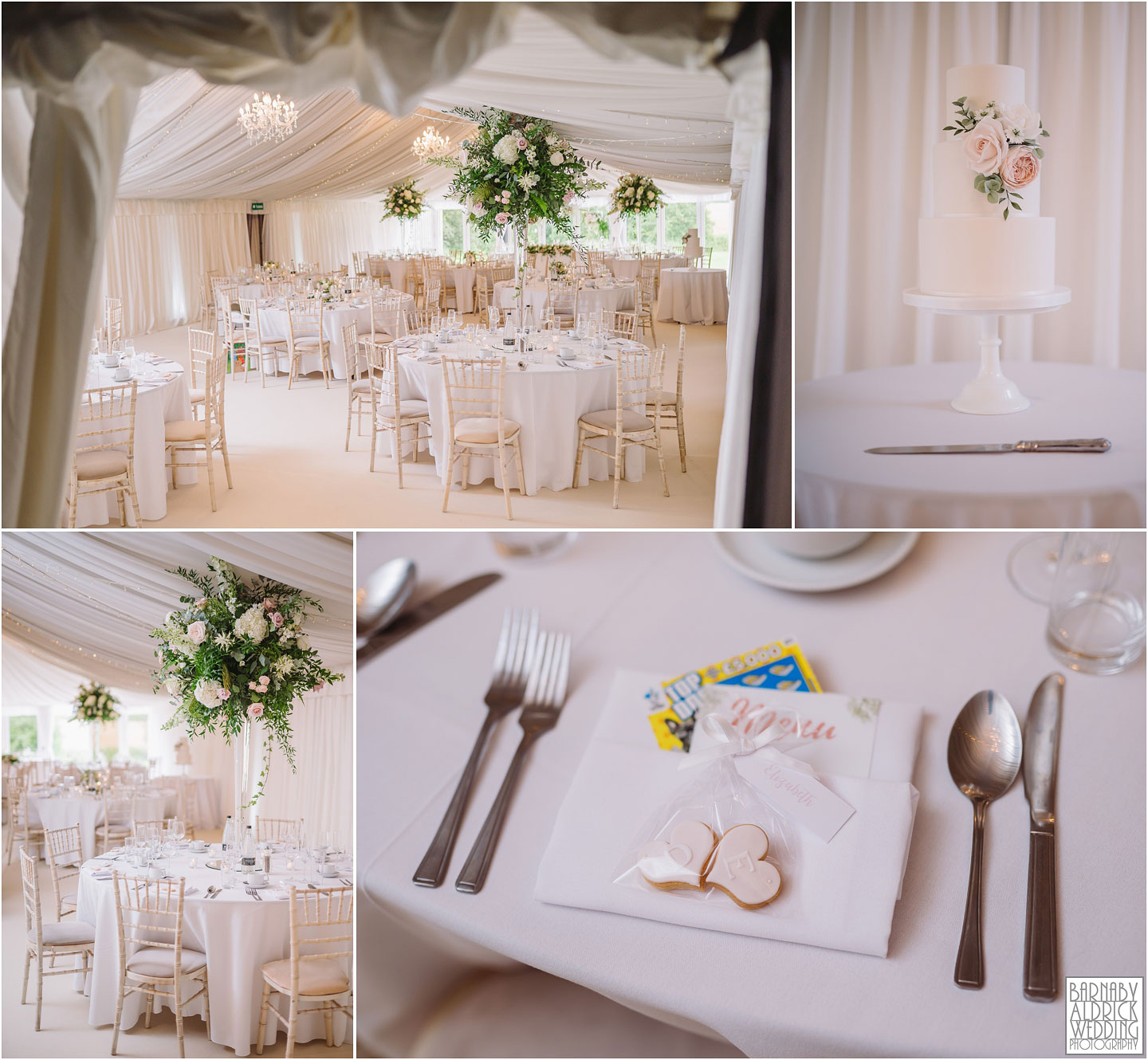 Priory Cottages Wedding Marquee, Meal space at Priory Cottages Yorkshire, Bright white wedding marquee, Wedding breakfast ideas