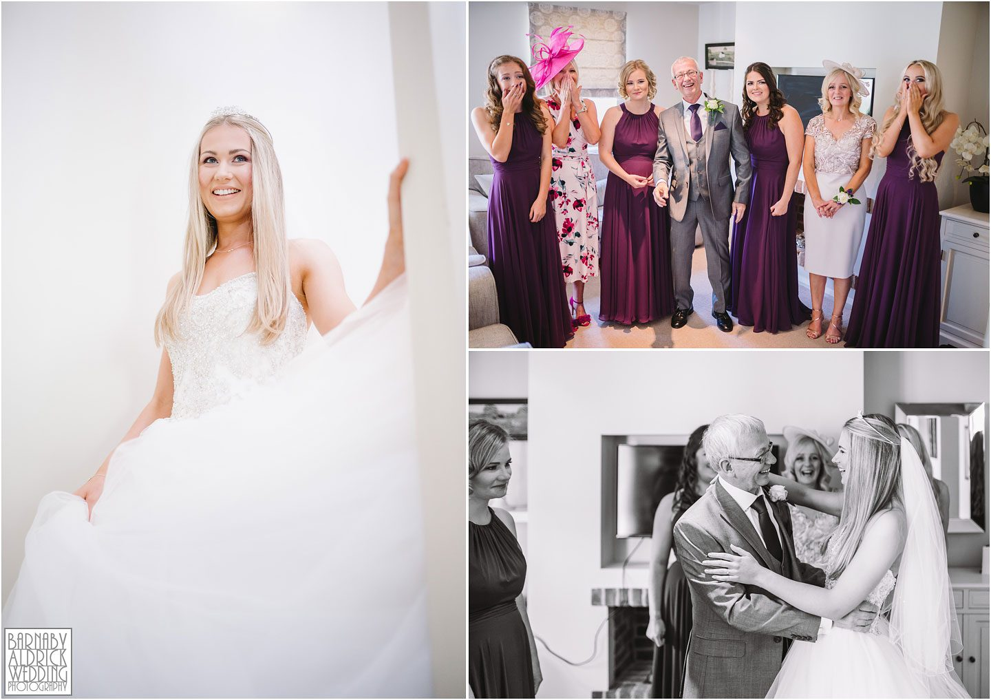 Father of the bride moment, Dad sees bride, Priory Cottages Wedding Yorkshire