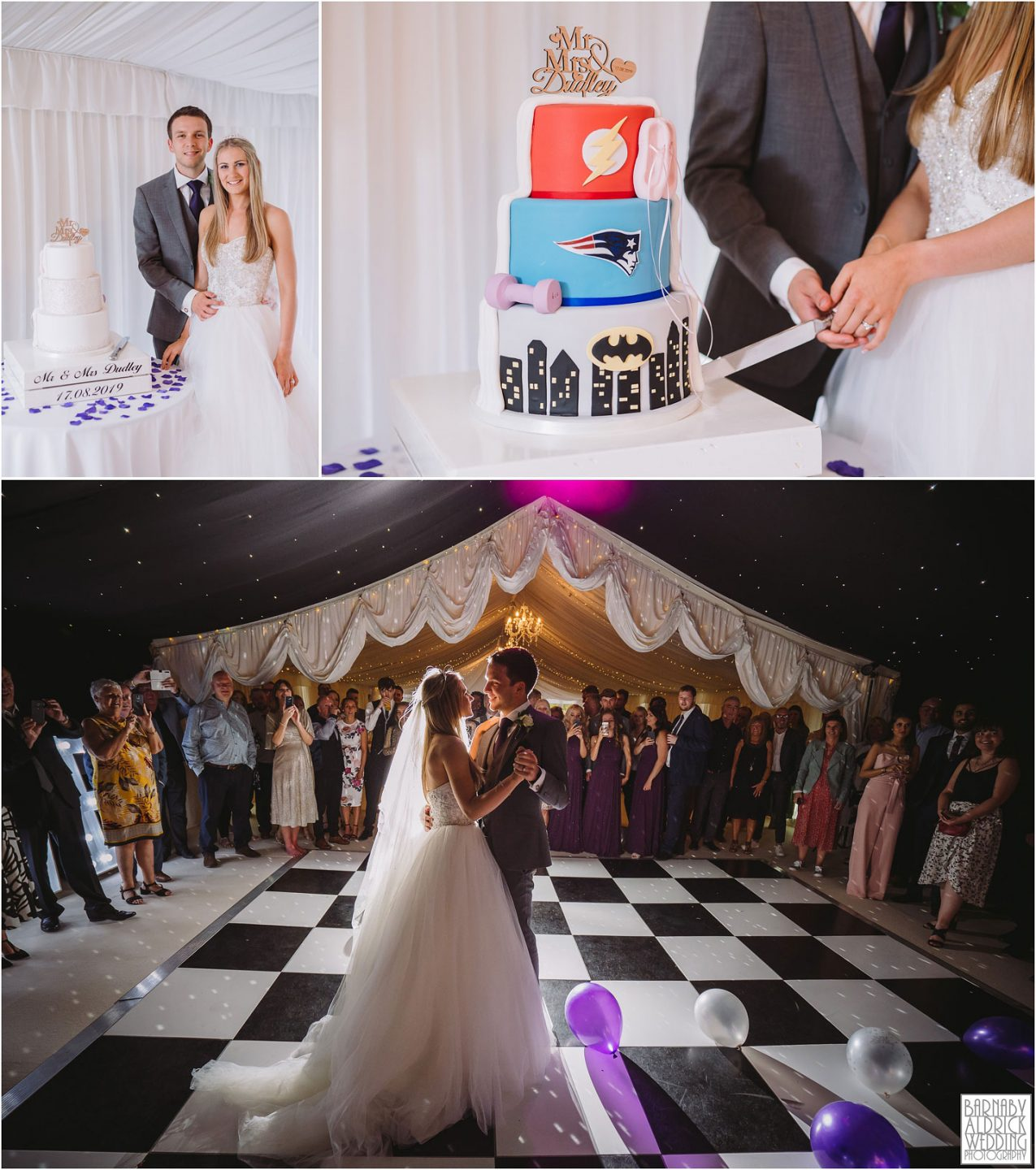 Superhero wedding cake cut, First Dance at Priory Cottages in Yorkshire, Wedding photos at Priory Cottages, The Priory Yorkshire