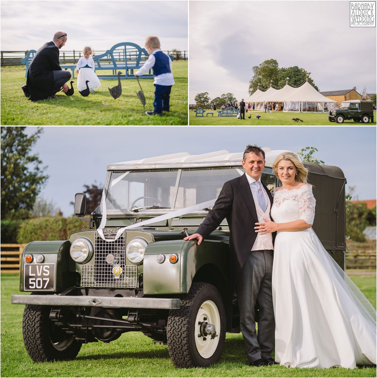 Landrover Defender Wedding car, Yorkshire Wedding photo