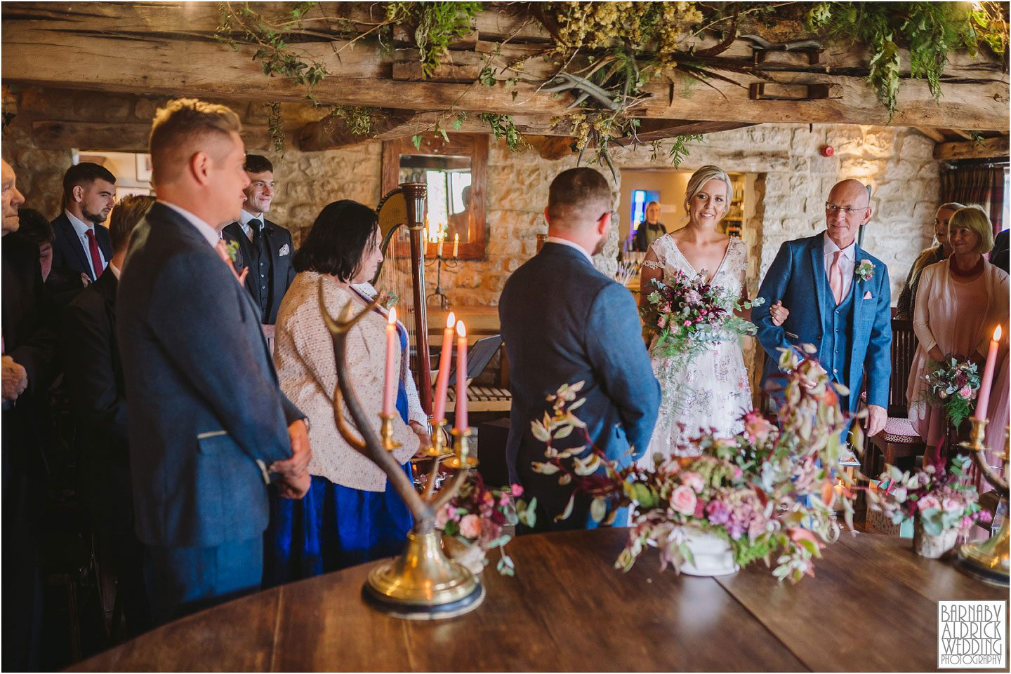 The brides entrance into The cross house lodge by the Star Inn in Harome,  Wedding Photography by Yorkshire Wedding Photographer Barnaby Aldrick, Star Inn wedding, Yorkshire wedding, Helmsley Wedding, Michelin Star Wedding venues