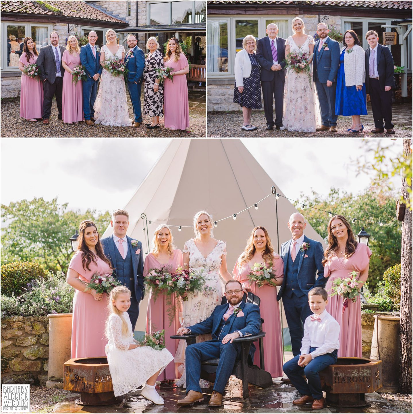 Group photos at The cross house lodge by the Star Inn in Harome,  Wedding Photography by Yorkshire Wedding Photographer Barnaby Aldrick, Star Inn wedding, Yorkshire wedding, Helmsley Wedding, Michelin Star Wedding venues