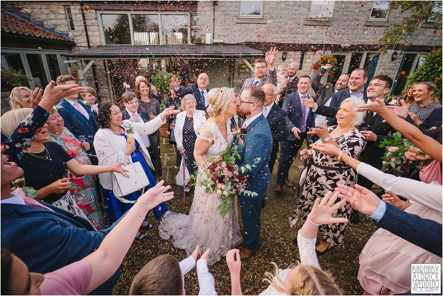Wedding confetti photo at The Star Harome, papakata Wedding photos yorkshire, The Star Harome Wedding, Wedding photos at The Star in Harome, Wedding pictures at The Star Inn Harome