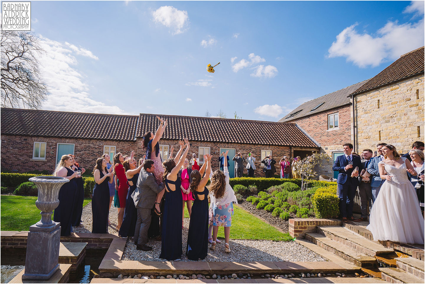 Priory Cottages bouquet toss photo