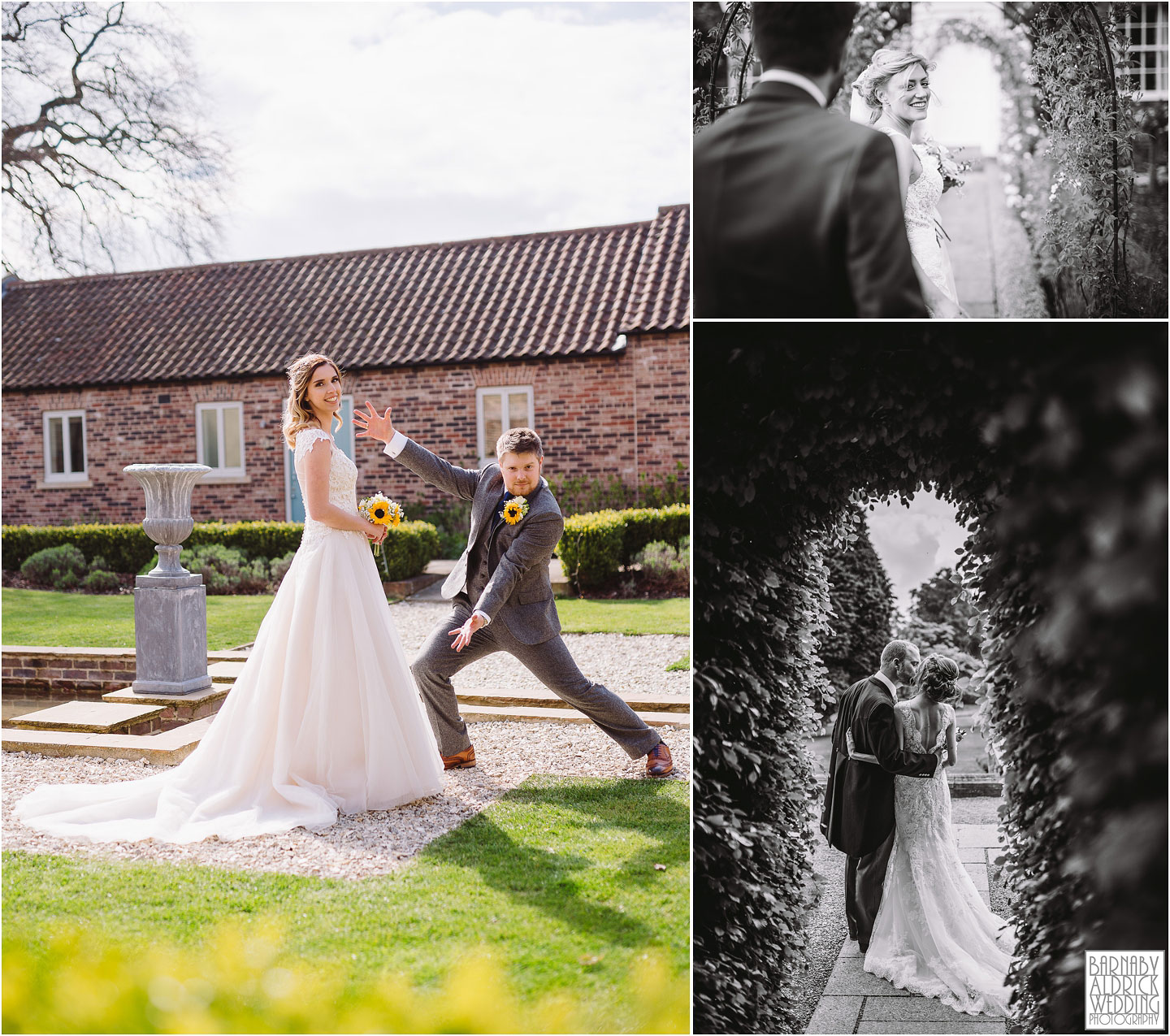 Priory Cottages yorkshire bride and groom portrait