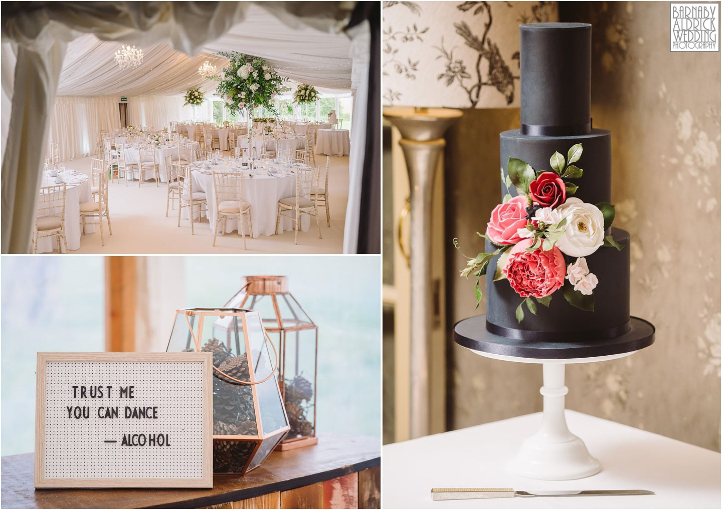 Amazing wedding cake, signs and marquee dressing