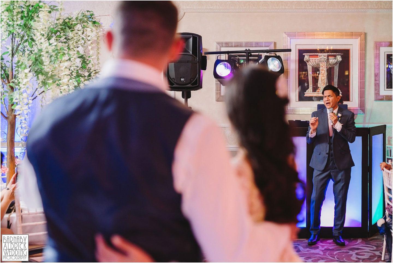 Dad wedding karaoke at Wood Hall