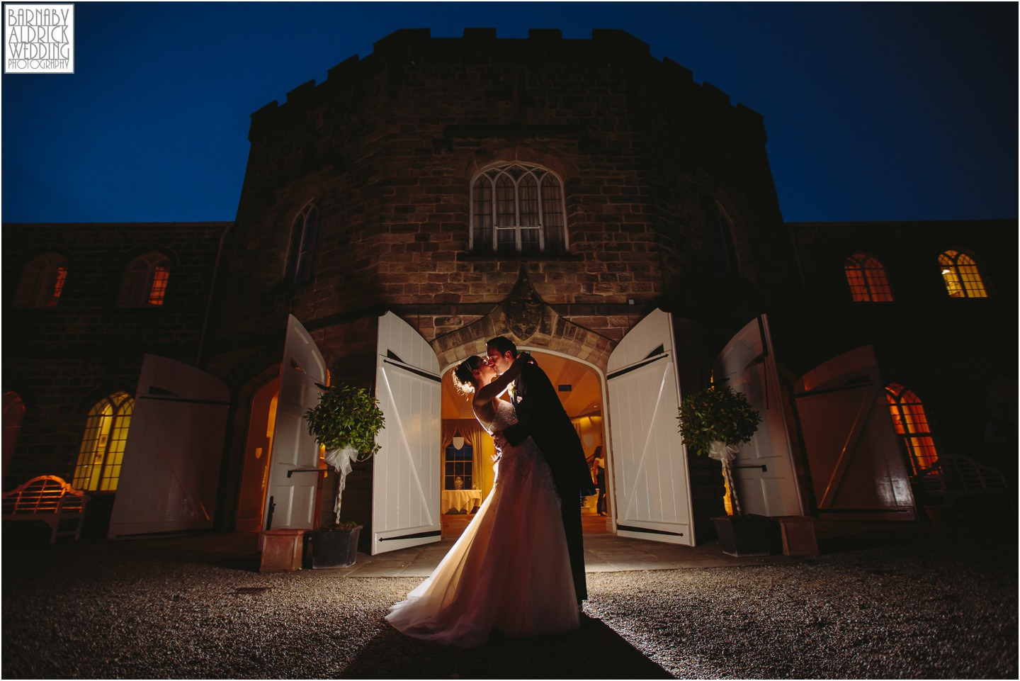 Ripley Castle evening wedding reception photograph