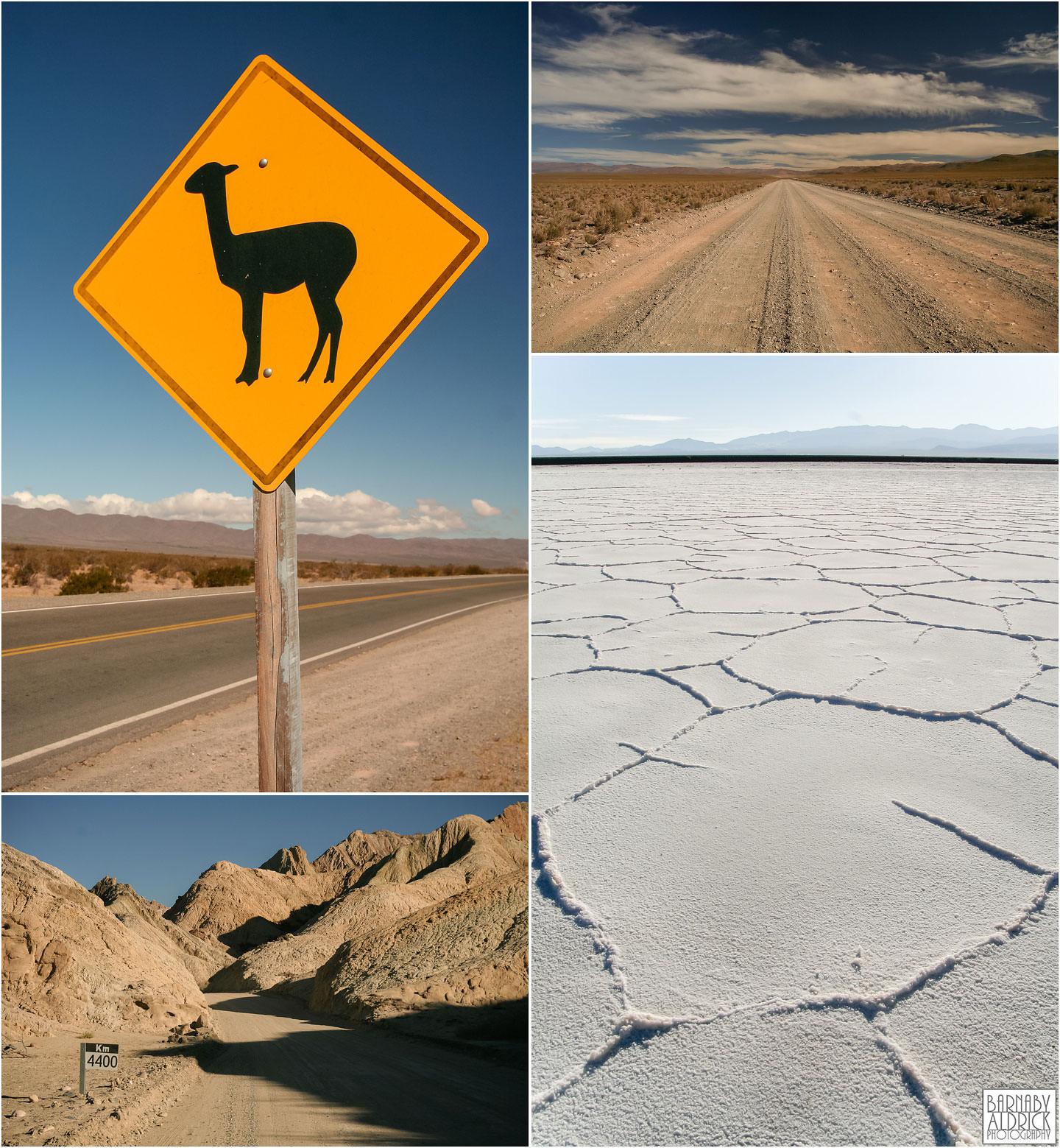 Mendoza Salta landscape Argentina, Warning Llama sign, Salinas Grandes Argentina