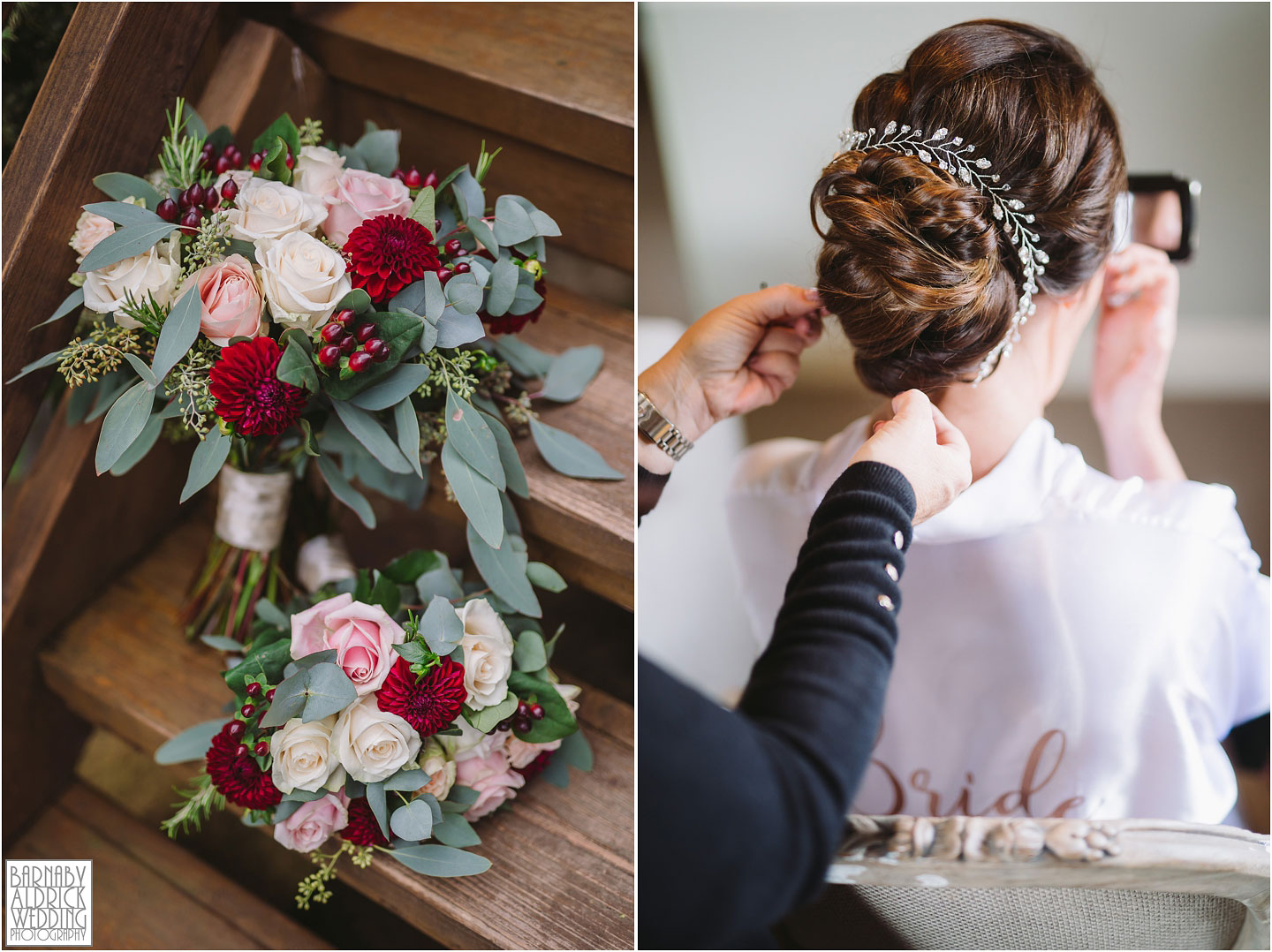Wedding Flowers by Busy Liz's in Yorkshire, Wedding hair by Debbie Chalmers