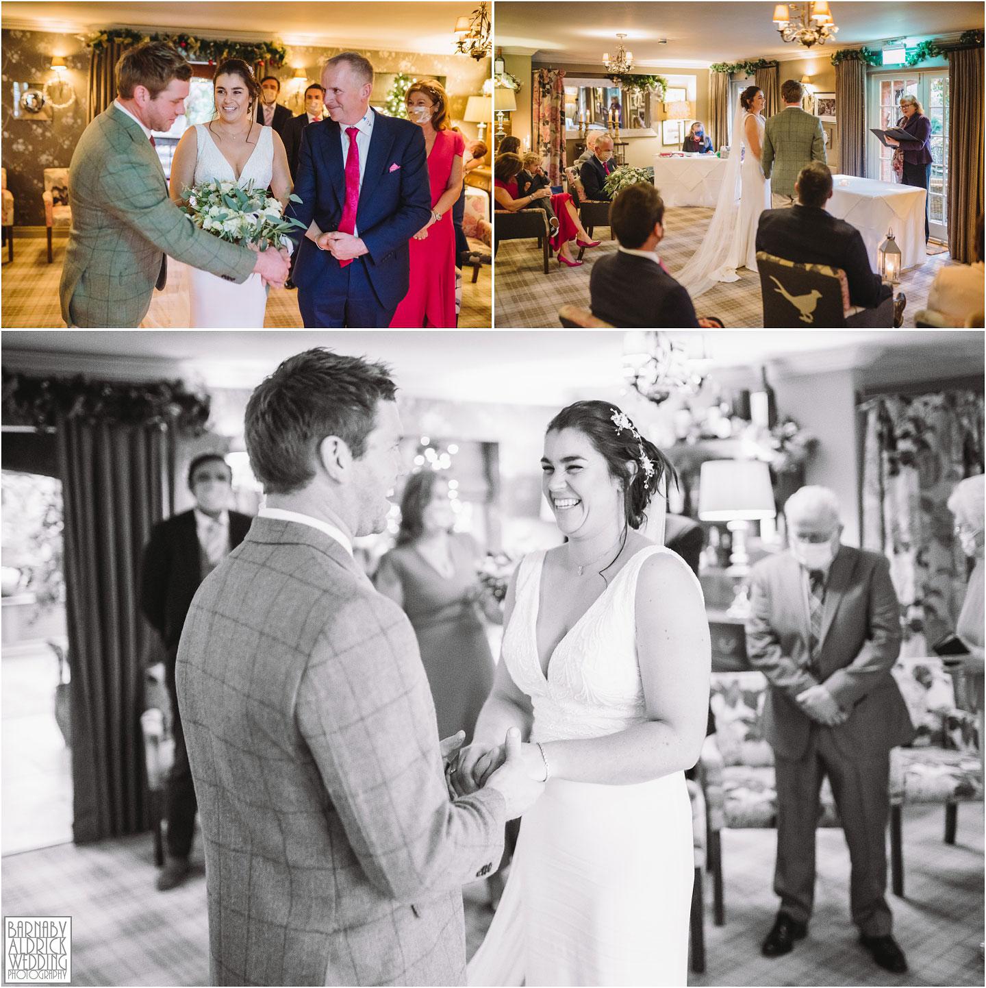 Civil wedding ceremony at The Pheasant harome, lockdown 2020