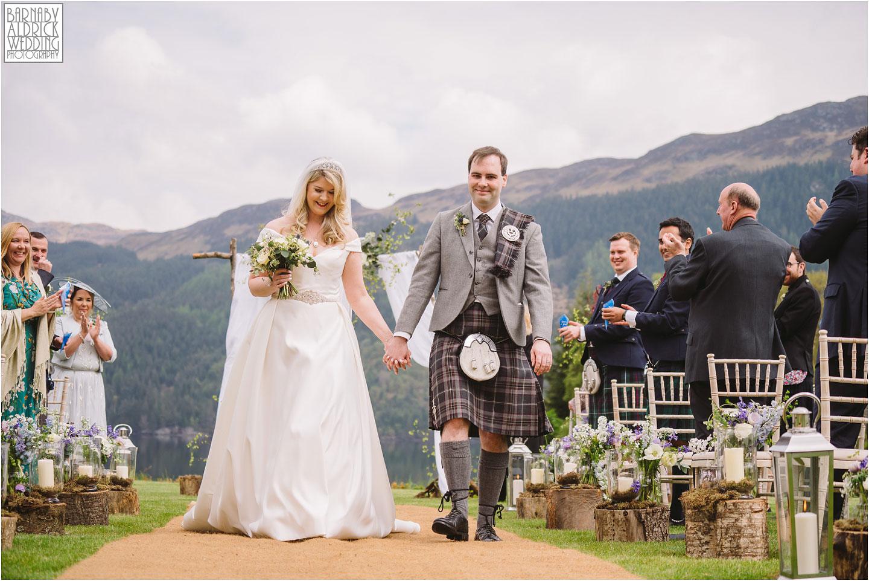 Bride and Groom down the ailse,Carrick Castle Estate Lodge Wedding, Loch Goil Wedding photos, Argyll Forest Park Wedding Scotland, Scottish Wedding, Scottish Lockdown Wedding, Scottish Wedding
