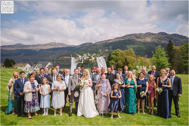 Lockdown wedding 2021, Carrick Castle Estate Wedding group photo, Loch Goil Wedding photos, Argyll Forest Park Wedding Scotland, Scottish Wedding, Scottish Lockdown Wedding, Scottish Wedding