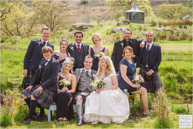Wedding Party group photo at Carrick Castle Estate Lodge Wedding, Loch Goil Wedding photos, Argyll Forest Park Wedding Scotland, Scottish Wedding, Scottish Lockdown Wedding, Scottish Wedding