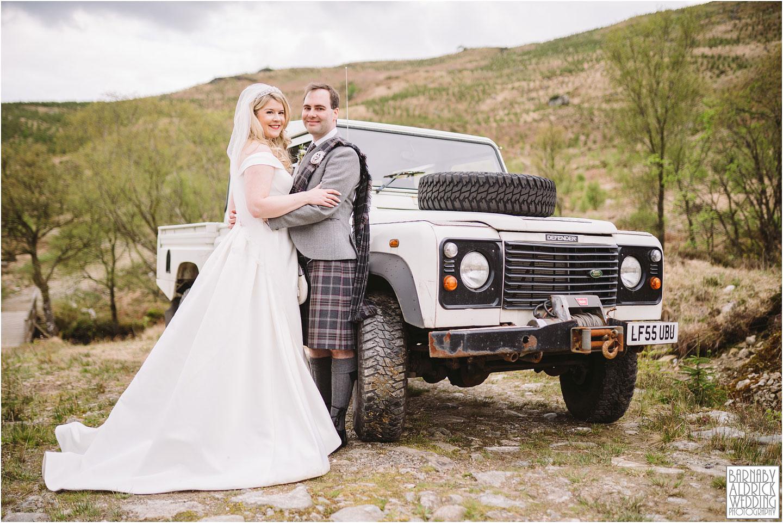 Rustic comedy working wedding car, Carrick Castle Estate Lodge Wedding, Loch Goil Wedding photos, Argyll Forest Park Wedding Scotland, Scottish Wedding, Scottish Lockdown Wedding, Scottish Wedding
