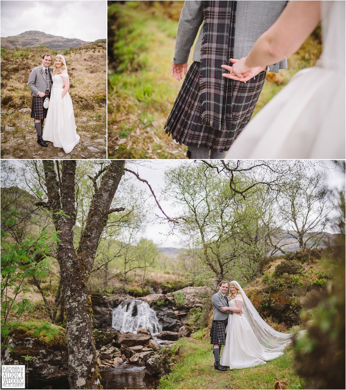 Scottish Waterfall wedding photo at Carrick Castle Estate Lodge Wedding, Loch Goil Wedding photos, Argyll Forest Park Wedding Scotland, Scottish Wedding, Scottish Lockdown Wedding, Scottish Wedding