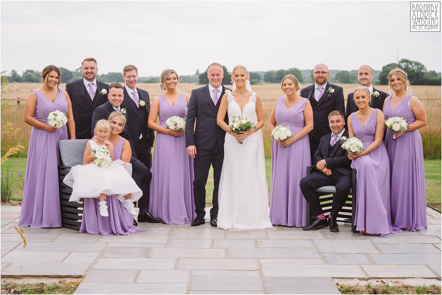 Wedding party group photo at The Oakwood, Yorkshire Wedding at The Oakwood at Ryther, Oakwood at Ryther wedding photographs, The Oakwood at Ryther wedding photos, Stylish Yorkshire wedding barn venue
