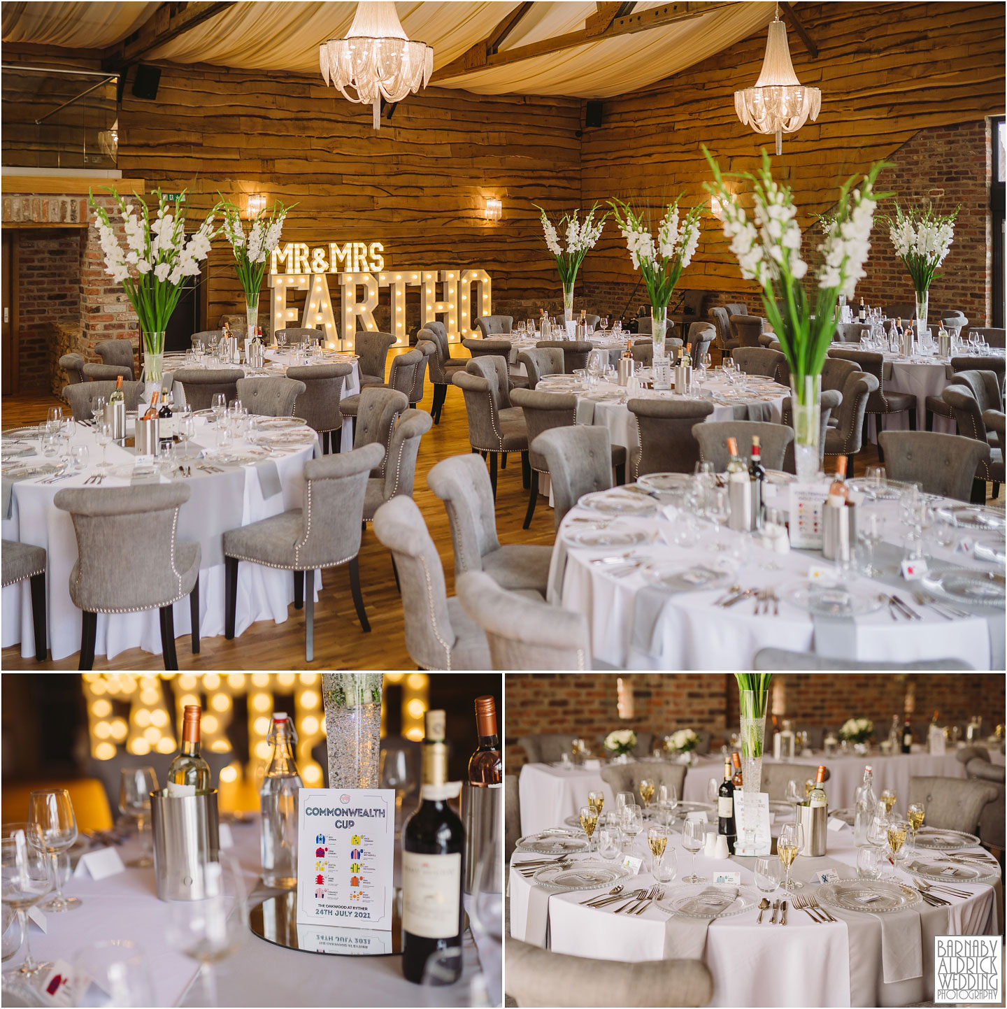 The Grain Store at the Oakwood at Ryther, Wedding breakfast room photo At The Oakwood, Wedding at The Oakwood at Ryther, The Old Grain Store at The Oakwood at RytherOakwood at Ryther wedding photographer, The Oakwood at Ryther wedding photos, Stylish Yorkshire wedding barn venue